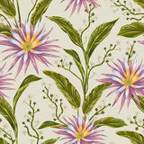 Seamless pattern with tropical flowers and leaves. Exotic floral botanical background. Stock Photos