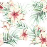 Seamless pattern with tropical flowers and leaves. Watercolor illustration. stock illustration