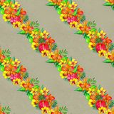 Seamless pattern With Tropical Flowers. Watercolor Background Royalty Free Stock Image