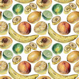 Seamless pattern with tropical fruits drawn by hand with colored pencil Royalty Free Stock Images