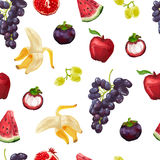 Seamless pattern with tropical fruits and grapes Stock Photography