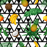 Seamless pattern with tropical fruits and leaves. Background made without clipping mask. Easy to use for backdrop. Textile, wrapping paper Royalty Free Stock Photography