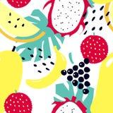 Seamless pattern with tropical fruits - mango, lichee, banana, grapes, dragon fruit, melon. stock illustration