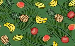 Seamless pattern tropical fruits Stock Photo