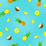 Seamless Pattern with Tropical Fruits. Vector illustration, eps10. Royalty Free Stock Photo