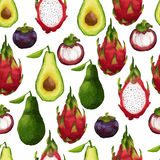 Seamless pattern with tropical fruits in Royalty Free Stock Image