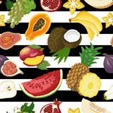 Seamless pattern with tropical fruits on a white and black background Stock Photo