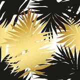 Seamless pattern with tropical and golden leaves. Decorative pattern for the design Stock Photos