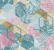 Seamless pattern. Seamless pattern with tropical leaves