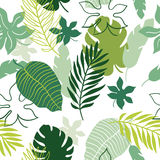 Seamless pattern tropical leaves Stock Photo