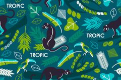 Seamless pattern with tropical leaves, branches of trees, jaguars and toucans. Flat style. Royalty Free Stock Photo