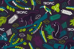 Seamless pattern with tropical leaves, branches of trees, jaguars and toucans. Flat style. stock illustration