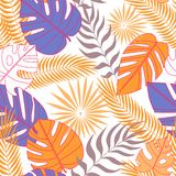 Seamless pattern of tropical leaves in flat stock illustration