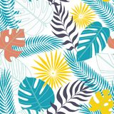 Seamless pattern of tropical leaves in flat royalty free illustration