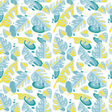 Seamless pattern with tropical leaves in flat style Royalty Free Stock Images