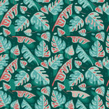 Seamless pattern with tropical leaves in flat style Stock Photos