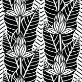 Seamless  pattern with  tropical  leaves and flowers Royalty Free Stock Photos