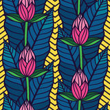 Seamless  pattern with  tropical  leaves and flowers Stock Photography