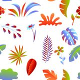 Seamless pattern with tropical leaves and flowers. royalty free stock photo