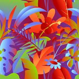 Seamless pattern with tropical leaves and flowers. stock photo