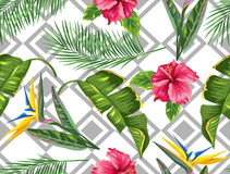 Seamless pattern with tropical leaves and flowers. Palms branches, bird of paradise flower, hibiscus.  vector illustration