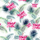 Seamless pattern with tropical leaves and paradise pink hibiscus flowers. Dark and bright green palm leaves on the white background. Vector seamless pattern Vector Illustration