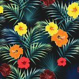 Seamless pattern with tropical leaves and paradise yellow, orange, red hibiscus flowers. Dark and bright green palm leaves on the black background. Tropical Royalty Free Illustration