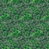 Seamless pattern with tropical leaves stock illustration