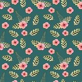 Seamless pattern. Tropical leaves watercolor background.. Tropical leaves watercolor background. Flower illustrations. stock illustration