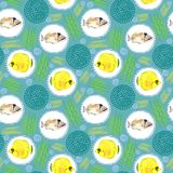 Seamless pattern with tropical marine fish. watercolor background. Seamless pattern with tropical marine fish and circle. watercolor  abstract background Royalty Free Stock Photo