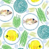 Seamless pattern with tropical marine fish. watercolor background. Seamless pattern with tropical marine fish and circle. watercolor  abstract background Stock Images