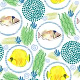 Seamless pattern with tropical marine fish . watercolor background