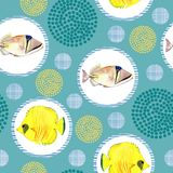 Seamless pattern with tropical marine fish. watercolor background. Seamless pattern with tropical marine fish and circle. watercolor  abstract background Royalty Free Stock Photos