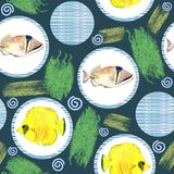 Seamless pattern with tropical marine fish. watercolor background. Seamless pattern with tropical marine fish and circle. watercolor  abstract background Stock Photo