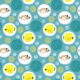 Seamless pattern with tropical marine fish. watercolor background. Seamless pattern with tropical marine fish and circle. watercolor  abstract background Royalty Free Stock Image