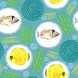 Seamless pattern with tropical marine fish. watercolor background. Seamless pattern with tropical marine fish and circle. watercolor  abstract background Royalty Free Stock Photography