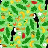 Seamless pattern with tropical nature on green wave background. Stock Images