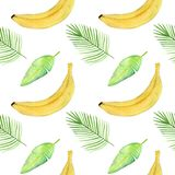 Seamless pattern with tropical palm leaves, bananas. royalty free stock images