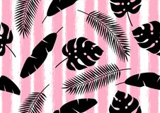 Seamless pattern with tropical palm leaves. Exotic tropical plants. Illustration of jungle nature royalty free illustration