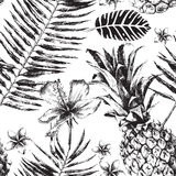 Seamless pattern with Tropical Palm Leaves, Flowers and Pineapples Royalty Free Stock Photo