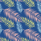 Seamless pattern of Tropical palm leaves. Vector illustration. Flat design. Style Royalty Free Stock Image