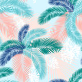 Seamless pattern of Tropical palm leaves. Vector illustration. Flat design. Style Royalty Free Stock Images