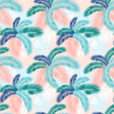 Seamless pattern of Tropical palm leaves. Vector illustration. Flat design. Style Stock Image