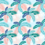 Seamless pattern of Tropical palm leaves. Vector illustration. Flat design Royalty Free Stock Photo