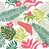 Seamless pattern with tropical plants Stock Images