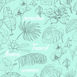 Seamless pattern with tropical plants and flowers Royalty Free Stock Image