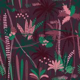 Seamless Pattern With Tropical Plants stock photos