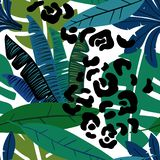 Seamless Pattern With Tropical Plants stock photo
