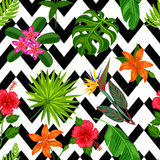 Seamless pattern with tropical plants, leaves and flowers. Background made without clipping mask. Easy to use for Stock Images