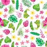 Seamless pattern with tropical slowers, leaves stock photography